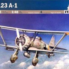 Maquetas: MAQUETA DEL BIPLANO DE ATAQUE HENSCHEL HS 123A-1 ANGELITO DE ITALERI A ESCALA 1/48. Lote 73082551