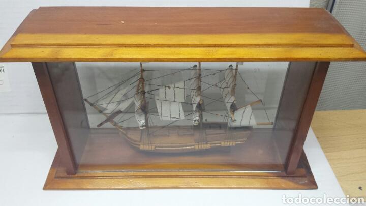 Maquetas: Maqueta antigua de barco en urna de cristal y madera - Foto 2 - 77547314