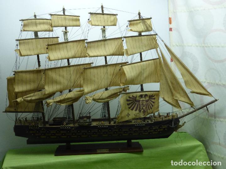 Maquetas: ANTIGUA Y ENORME MAQUETA DE BARCO FRAGATA AÑO 1780 - MÁS DE UN METRO DE LONGITUD - MADERA Y TELAS - Foto 14 - 78515845