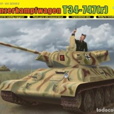 Maquetas: KIT MAQUETA 1/35 TANQUE RUSO T-34 747 (R). DRAGON 6449. NUEVO. . Lote 83372904