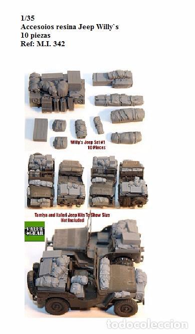 1/35 KIT RESINA WILLY'S JEEP 10 PIEZAS WW2 ACCESORIOS ESTIBA DIORAMA (Juguetes - Modelismo y Radiocontrol - Maquetas - Militar)