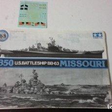 Maquetas: INSTRUCCIONES DE MONTAJE Y CALCAS DEL USS IOWA. TAMIYA 1/350. Lote 91824230