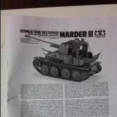 Maquetas: INSTRUCCIONES DE MONTAJE DEL MARDER III. TAMIYA 1/35. Lote 91824355