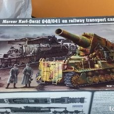 Maquetas: MÖRSER KARL GERAT 040/041 ON RAILWAY TRANSPORT CARRIER. TRUMPETER 1/35. Lote 97132895