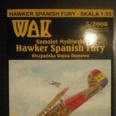 Maquetas: HAWKER SPANISH FURY, GUERRA CIVIL, 1/33. Lote 98422203