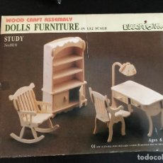 Maquetas: WOOD CRAFT ASSEMBLY DOLLS FURNITURE IN 1/12 SCALE. STUDY. Lote 114359047