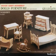 Maquetas: WOOD CRAFT ASSEMBLY DOLLS FURNITURE IN 1/12 SCALE. NURSERY. Lote 114359079