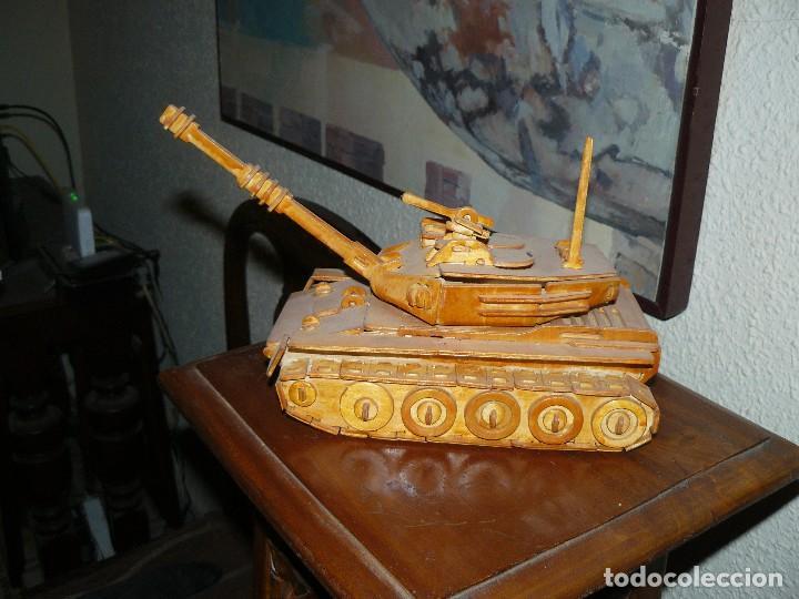 Maquetas: juguete antiguo carro de combate tanque de madera - Foto 4 - 116568251