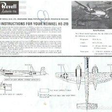 Maquetas: INSTRUCCIONES DE MONTAJE DEL HEINKEL HE-219 UHU DE REVELL ESCALA 1/72. Lote 118506931