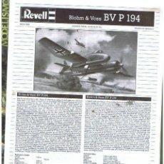 Maquetas: INSTRUCCIONES DE MONTAJE DEL BLOHM UND VOSS BV P.194 ALINA DE REVELL ESCALA 1/72. Lote 118506995