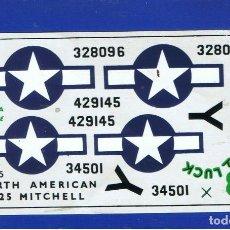 Maquetas: HOJA DE CALCAS PARA EL NORTH AMERICAN B-25 DE AIRFIX ESCALA 1/72. Lote 118608883