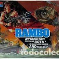 Maquetas: MONOGRAM - RAMBO ATTACK SET CONTAINS BOTH A CHOPPER AND RIVER BOAT 1/48 6039. Lote 120369943