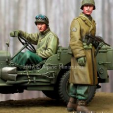 Maquetas: WWII 1/35 2 FIGURAS U.S. SOLDIER CONDUCTOR SARGENT RESINA A-163. Lote 174321127