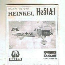Maquetas: INSTRUCCIONES DE MONTAJE DEL HEINKEL HE-51 A DE HASEGAWA ESCALA 1/72. Lote 126117171