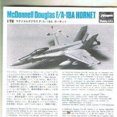 Maquetas: INSTRUCCIONES DE MONTAJE DEL MCDONNELL DOUGLAS A.F-18 A DE HASEGAWA ESCALA 1/72. Lote 126117371
