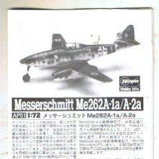 Maquetas: INSTRUCCIONES DE MONTAJE DEL MESSERSCHMITT ME-262 A-1A/A-2A DE HASEGAWA ESCALA 1/72. Lote 126117563