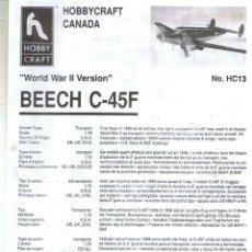 Maquetas: INSTRUCCIONES DE MONTAJE DEL BEECH C-45F DE HOBBYCRAFT ESCALA 1/72. Lote 136405586