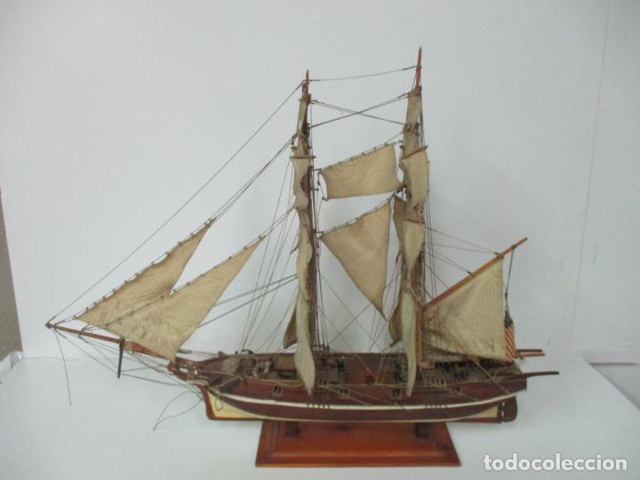 Maquetas: Antigua Maqueta de Fragata, Barco, Velero Americano - Madera y Tela - Principios S. XX - Foto 2 - 142182186