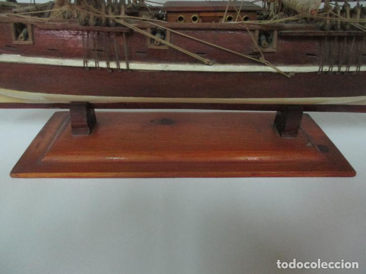 Maquetas: Antigua Maqueta de Fragata, Barco, Velero Americano - Madera y Tela - Principios S. XX - Foto 3 - 142182186
