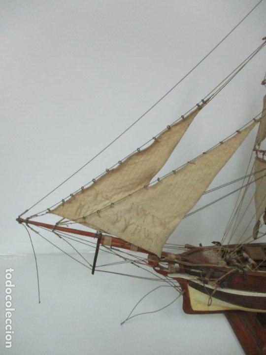 Maquetas: Antigua Maqueta de Fragata, Barco, Velero Americano - Madera y Tela - Principios S. XX - Foto 4 - 142182186