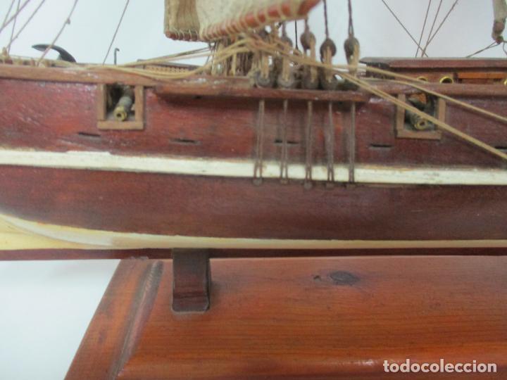 Maquetas: Antigua Maqueta de Fragata, Barco, Velero Americano - Madera y Tela - Principios S. XX - Foto 5 - 142182186