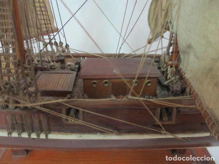 Maquetas: Antigua Maqueta de Fragata, Barco, Velero Americano - Madera y Tela - Principios S. XX - Foto 6 - 142182186