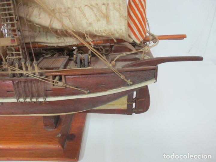 Maquetas: Antigua Maqueta de Fragata, Barco, Velero Americano - Madera y Tela - Principios S. XX - Foto 7 - 142182186