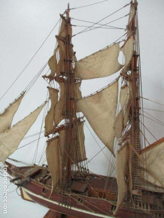 Maquetas: Antigua Maqueta de Fragata, Barco, Velero Americano - Madera y Tela - Principios S. XX - Foto 8 - 142182186