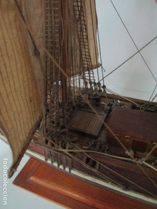 Maquetas: Antigua Maqueta de Fragata, Barco, Velero Americano - Madera y Tela - Principios S. XX - Foto 9 - 142182186