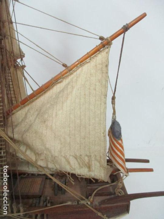 Maquetas: Antigua Maqueta de Fragata, Barco, Velero Americano - Madera y Tela - Principios S. XX - Foto 10 - 142182186