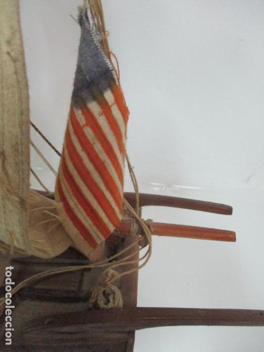 Maquetas: Antigua Maqueta de Fragata, Barco, Velero Americano - Madera y Tela - Principios S. XX - Foto 11 - 142182186
