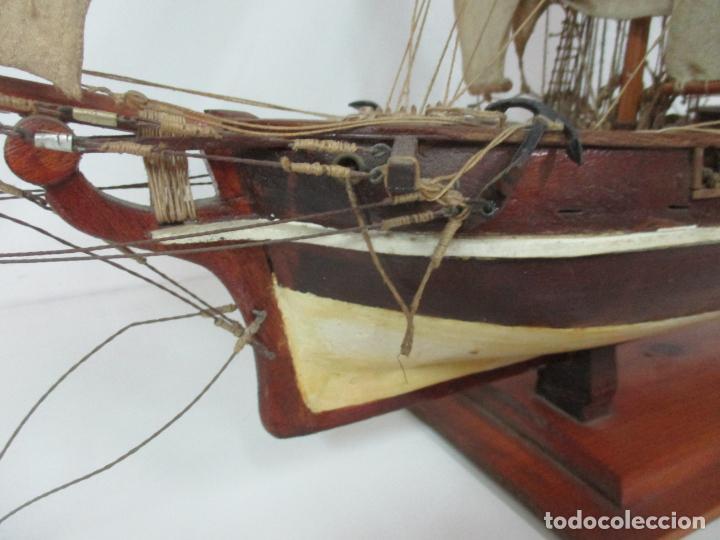 Maquetas: Antigua Maqueta de Fragata, Barco, Velero Americano - Madera y Tela - Principios S. XX - Foto 12 - 142182186