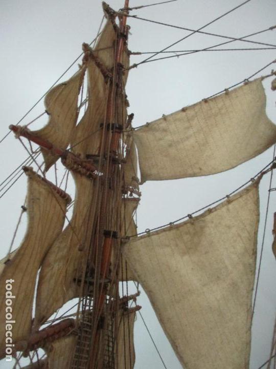 Maquetas: Antigua Maqueta de Fragata, Barco, Velero Americano - Madera y Tela - Principios S. XX - Foto 13 - 142182186