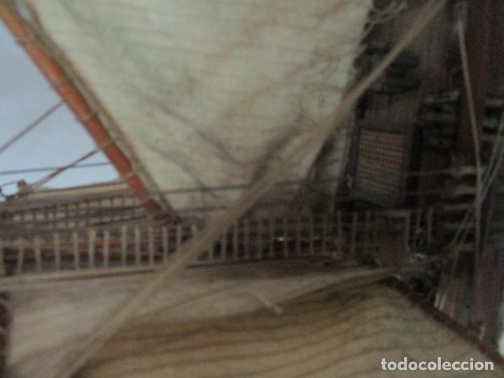 Maquetas: Antigua Maqueta de Fragata, Barco, Velero Americano - Madera y Tela - Principios S. XX - Foto 14 - 142182186