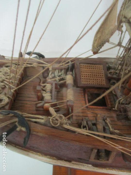 Maquetas: Antigua Maqueta de Fragata, Barco, Velero Americano - Madera y Tela - Principios S. XX - Foto 15 - 142182186