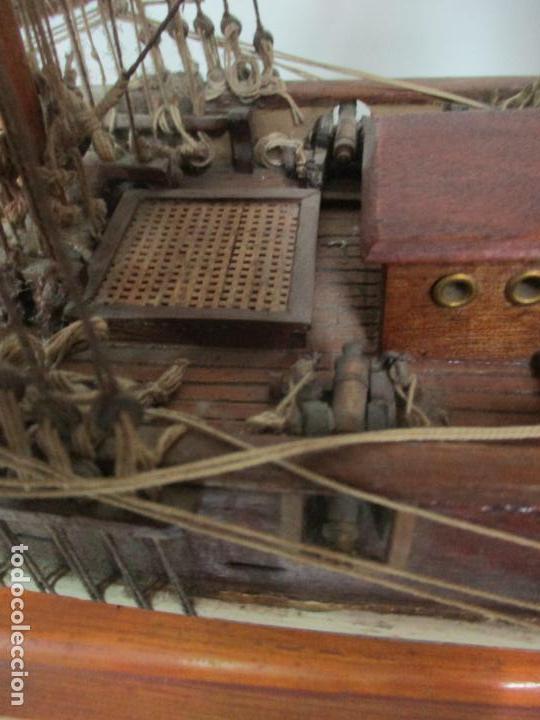 Maquetas: Antigua Maqueta de Fragata, Barco, Velero Americano - Madera y Tela - Principios S. XX - Foto 16 - 142182186