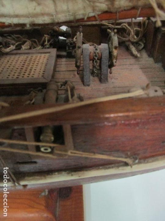 Maquetas: Antigua Maqueta de Fragata, Barco, Velero Americano - Madera y Tela - Principios S. XX - Foto 17 - 142182186