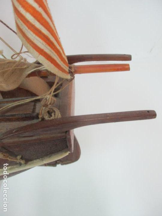 Maquetas: Antigua Maqueta de Fragata, Barco, Velero Americano - Madera y Tela - Principios S. XX - Foto 18 - 142182186