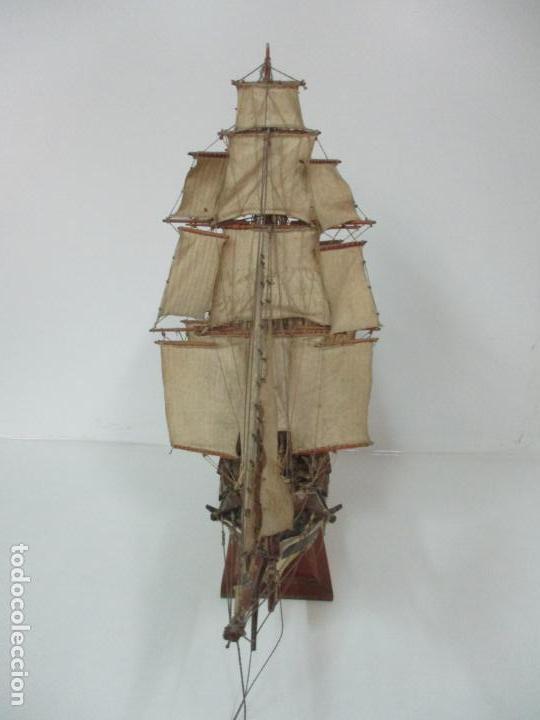 Maquetas: Antigua Maqueta de Fragata, Barco, Velero Americano - Madera y Tela - Principios S. XX - Foto 19 - 142182186