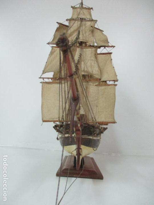 Maquetas: Antigua Maqueta de Fragata, Barco, Velero Americano - Madera y Tela - Principios S. XX - Foto 20 - 142182186