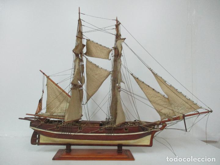 Maquetas: Antigua Maqueta de Fragata, Barco, Velero Americano - Madera y Tela - Principios S. XX - Foto 23 - 142182186