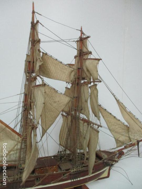 Maquetas: Antigua Maqueta de Fragata, Barco, Velero Americano - Madera y Tela - Principios S. XX - Foto 25 - 142182186