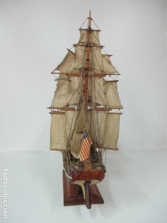 Maquetas: Antigua Maqueta de Fragata, Barco, Velero Americano - Madera y Tela - Principios S. XX - Foto 27 - 142182186