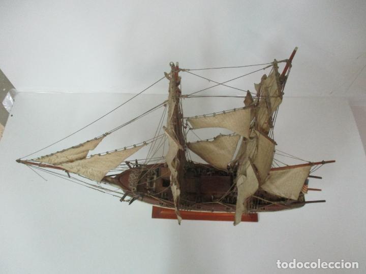 Maquetas: Antigua Maqueta de Fragata, Barco, Velero Americano - Madera y Tela - Principios S. XX - Foto 31 - 142182186