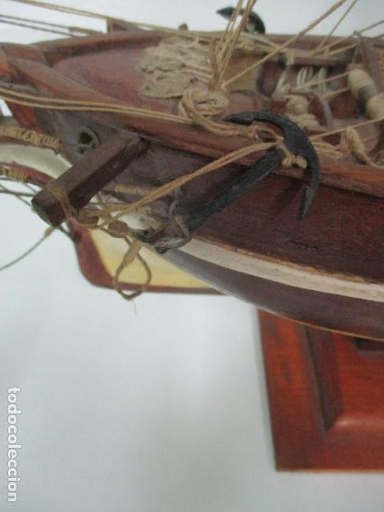 Maquetas: Antigua Maqueta de Fragata, Barco, Velero Americano - Madera y Tela - Principios S. XX - Foto 33 - 142182186