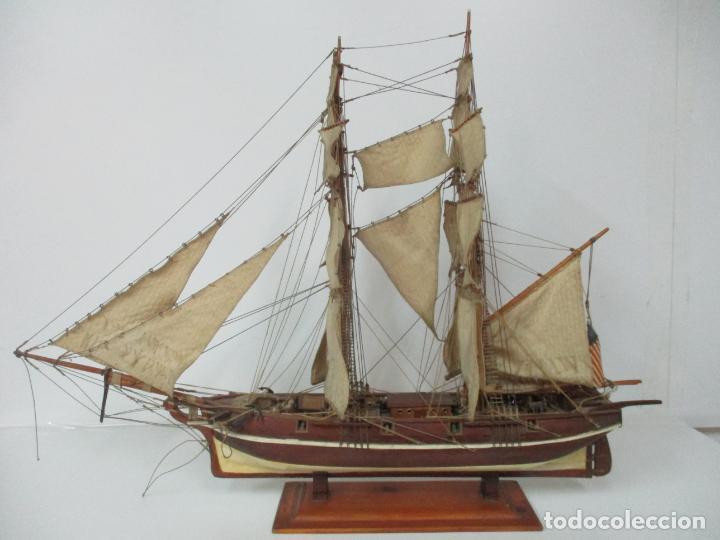 Maquetas: Antigua Maqueta de Fragata, Barco, Velero Americano - Madera y Tela - Principios S. XX - Foto 34 - 142182186