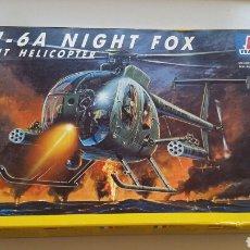 Maquetas: MAQUETA DE HELICÓPTERO DE ATAQUE AH 6A NIGHT FOX ITALERI ESCALA 1:72 N°017. Lote 144616750