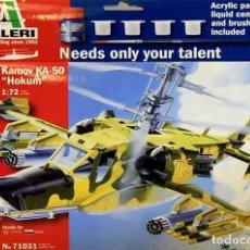 Maquetas: SET DE INICIO CON HELICOPTERO KAMOV KA-50 HOKUM DE ITALERI A 1/72 (CON PINTURAS, PEGAMENTO, ETC). Lote 148537538