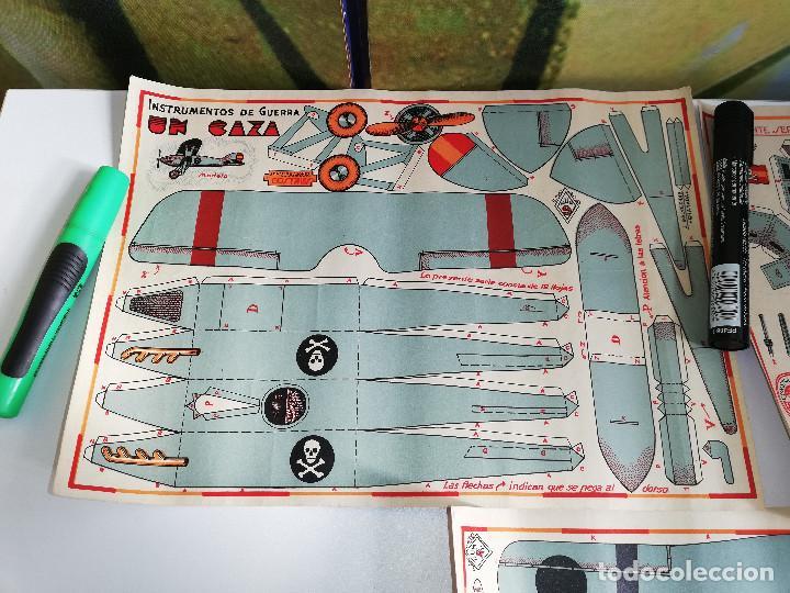 Maquetas: Lote de tres antiguas maquetas recortables,Instrumentos de guerra. Un caza, un tanque y un trimotor. - Foto 2 - 151274226