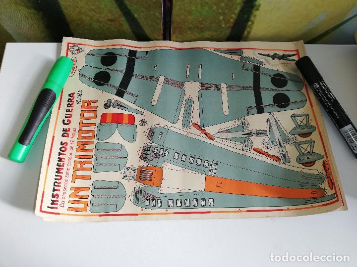 Maquetas: Lote de tres antiguas maquetas recortables,Instrumentos de guerra. Un caza, un tanque y un trimotor. - Foto 4 - 151274226
